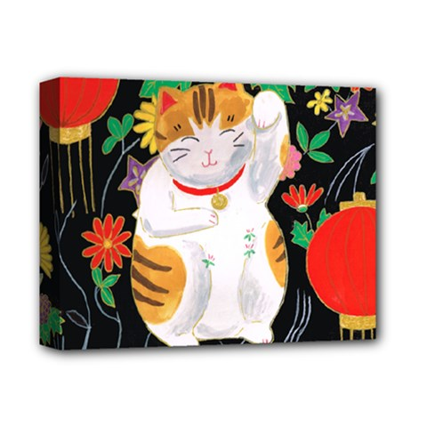 Maneki Neko Deluxe Canvas 14  x 11  (Framed)