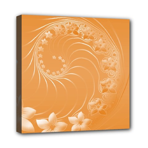 Orange Abstract Flowers Mini Canvas 8  X 8  (framed)