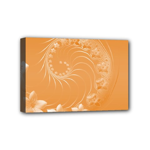Orange Abstract Flowers Mini Canvas 6  x 4  (Framed)