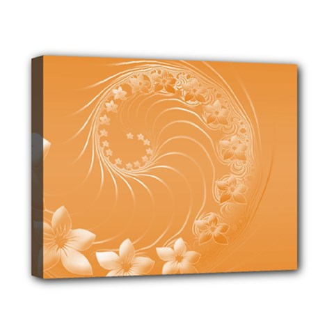 Orange Abstract Flowers Canvas 10  X 8  (framed)