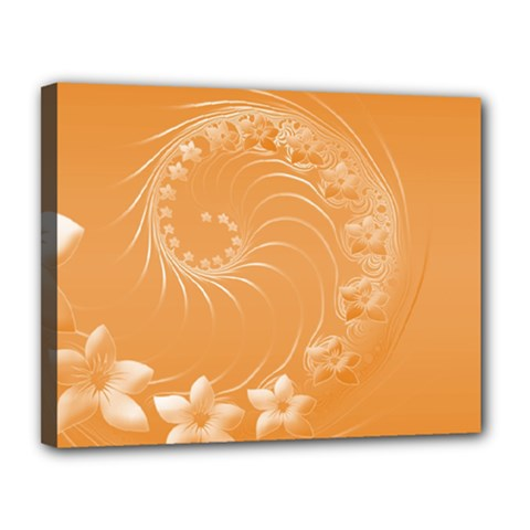 Orange Abstract Flowers Canvas 14  x 11  (Framed)