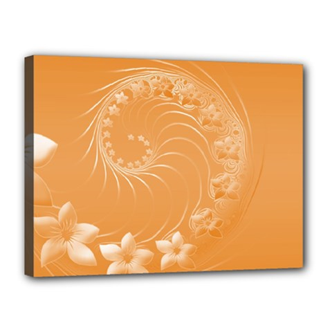 Orange Abstract Flowers Canvas 16  X 12  (framed)
