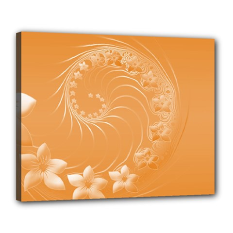 Orange Abstract Flowers Canvas 20  x 16  (Framed)