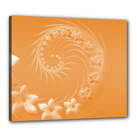 Orange Abstract Flowers Canvas 24  x 20  (Framed)
