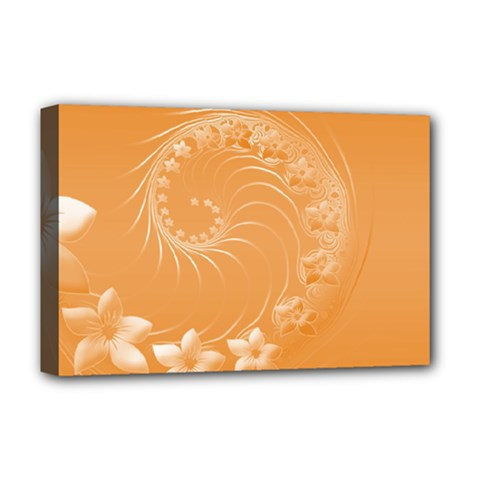 Orange Abstract Flowers Deluxe Canvas 18  X 12  (framed)