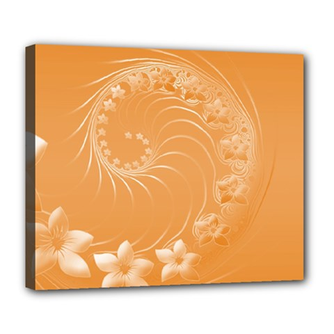 Orange Abstract Flowers Deluxe Canvas 24  x 20  (Framed)