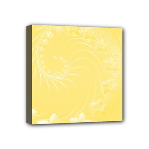 Yellow Abstract Flowers Mini Canvas 4  X 4  (framed)