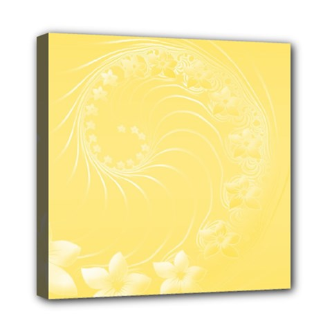 Yellow Abstract Flowers Mini Canvas 8  x 8  (Framed)