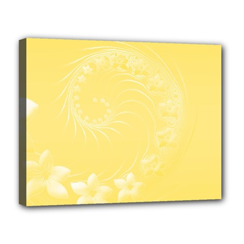 Yellow Abstract Flowers Canvas 14  X 11  (framed)
