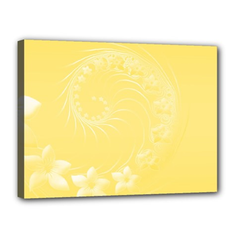 Yellow Abstract Flowers Canvas 16  x 12  (Framed)