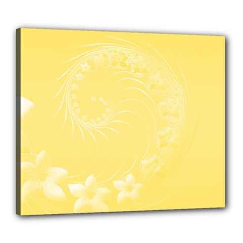 Yellow Abstract Flowers Canvas 24  x 20  (Framed)