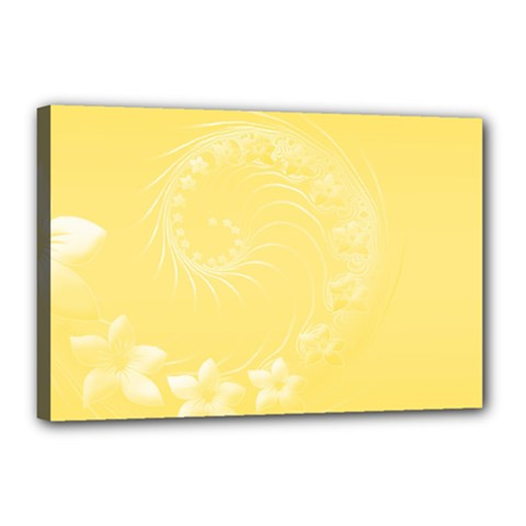 Yellow Abstract Flowers Canvas 18  X 12  (framed)
