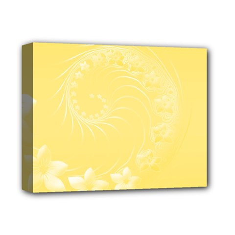Yellow Abstract Flowers Deluxe Canvas 14  x 11  (Framed)