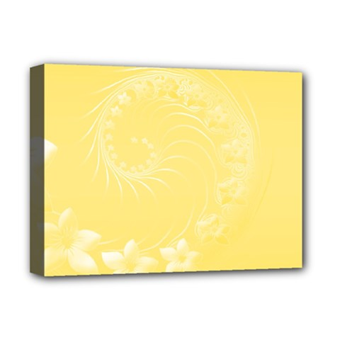 Yellow Abstract Flowers Deluxe Canvas 16  X 12  (framed)