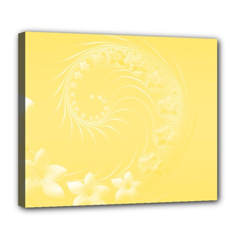 Yellow Abstract Flowers Deluxe Canvas 24  X 20  (framed)