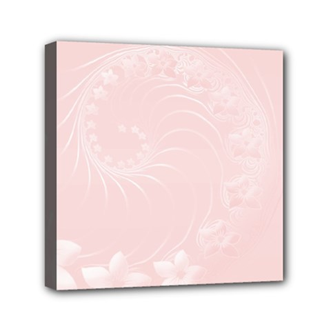 Light Pink Abstract Flowers Mini Canvas 6  x 6  (Framed)