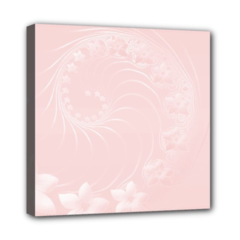 Light Pink Abstract Flowers Mini Canvas 8  X 8  (framed)