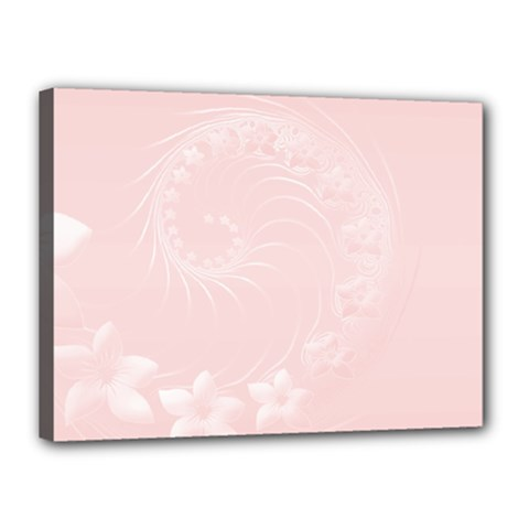 Light Pink Abstract Flowers Canvas 16  x 12  (Framed)
