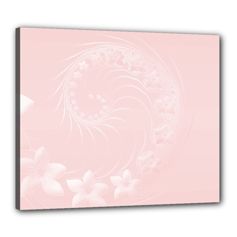 Light Pink Abstract Flowers Canvas 24  X 20  (framed)
