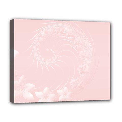 Light Pink Abstract Flowers Deluxe Canvas 20  x 16  (Framed)