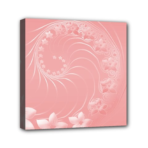 Pink Abstract Flowers Mini Canvas 6  X 6  (framed)