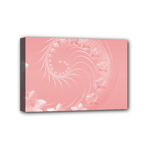 Pink Abstract Flowers Mini Canvas 6  x 4  (Framed)