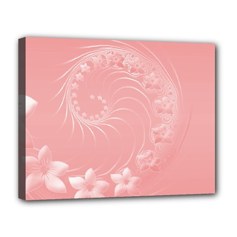 Pink Abstract Flowers Canvas 14  x 11  (Framed)