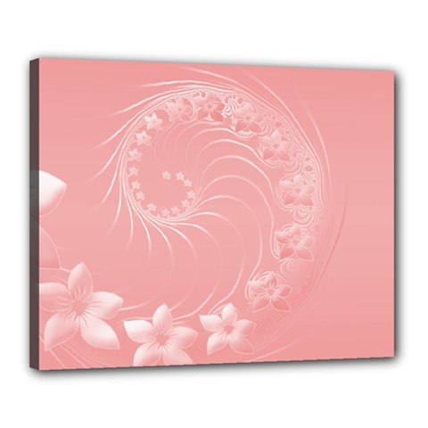 Pink Abstract Flowers Canvas 20  x 16  (Framed)