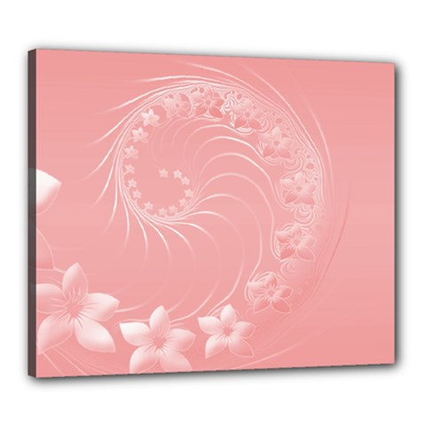 Pink Abstract Flowers Canvas 24  x 20  (Framed)