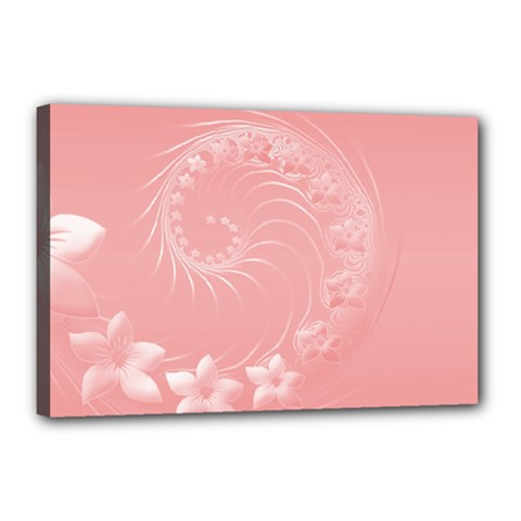 Pink Abstract Flowers Canvas 18  X 12  (framed)