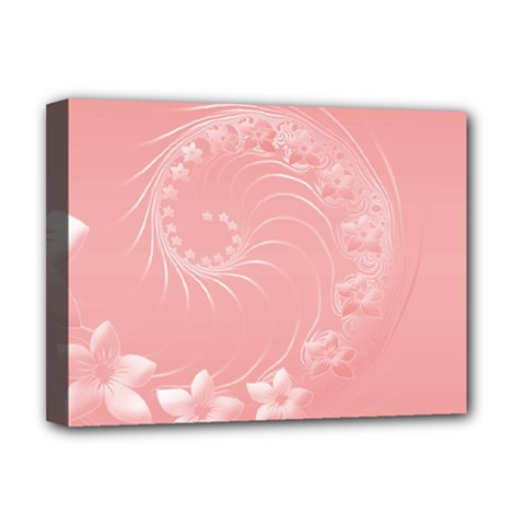 Pink Abstract Flowers Deluxe Canvas 16  x 12  (Framed)