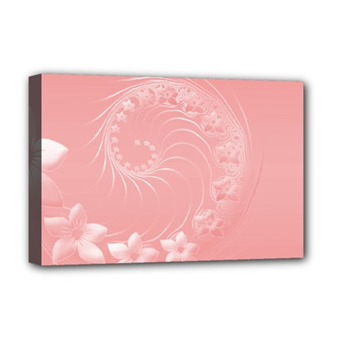 Pink Abstract Flowers Deluxe Canvas 18  x 12  (Framed)