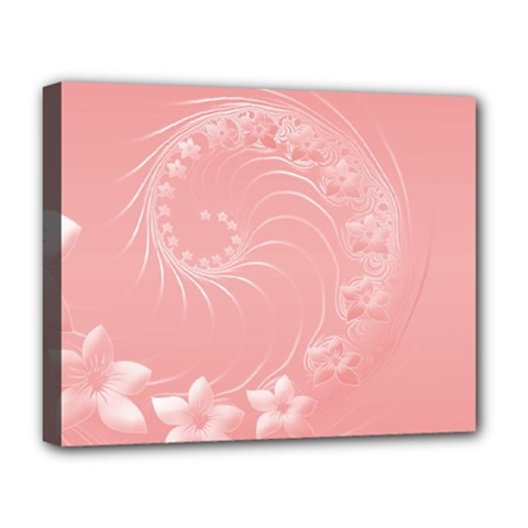 Pink Abstract Flowers Deluxe Canvas 20  X 16  (framed)