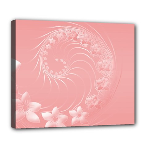 Pink Abstract Flowers Deluxe Canvas 24  x 20  (Framed)