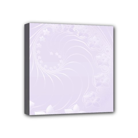 Pastel Violet Abstract Flowers Mini Canvas 4  x 4  (Framed)