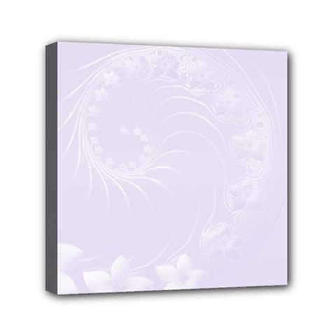 Pastel Violet Abstract Flowers Mini Canvas 6  x 6  (Framed)