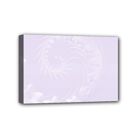 Pastel Violet Abstract Flowers Mini Canvas 6  x 4  (Framed)