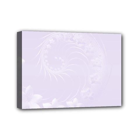 Pastel Violet Abstract Flowers Mini Canvas 7  X 5  (framed)