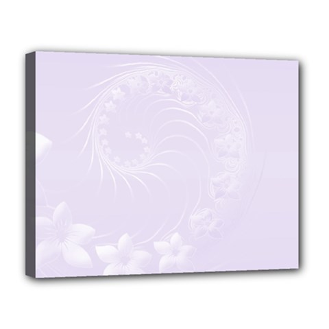 Pastel Violet Abstract Flowers Canvas 14  x 11  (Framed)