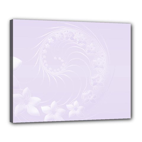Pastel Violet Abstract Flowers Canvas 20  x 16  (Framed)