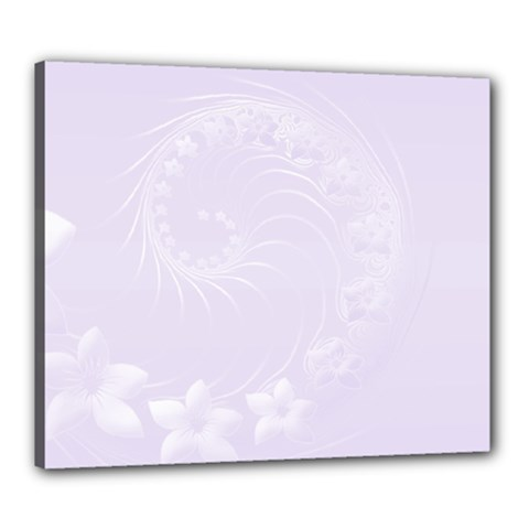 Pastel Violet Abstract Flowers Canvas 24  X 20  (framed)