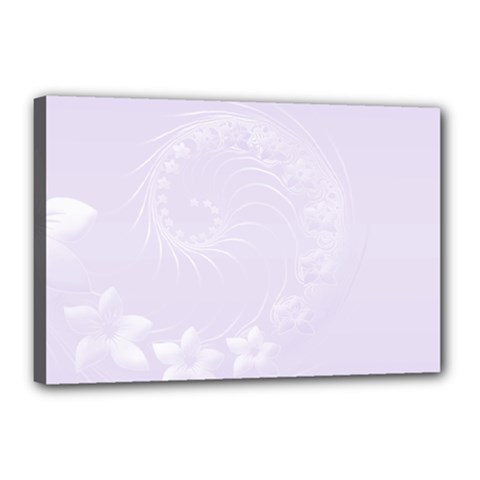 Pastel Violet Abstract Flowers Canvas 18  x 12  (Framed)