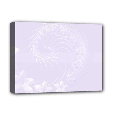 Pastel Violet Abstract Flowers Deluxe Canvas 16  x 12  (Framed)