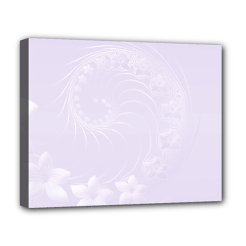 Pastel Violet Abstract Flowers Deluxe Canvas 20  x 16  (Framed)
