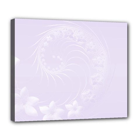 Pastel Violet Abstract Flowers Deluxe Canvas 24  x 20  (Framed)