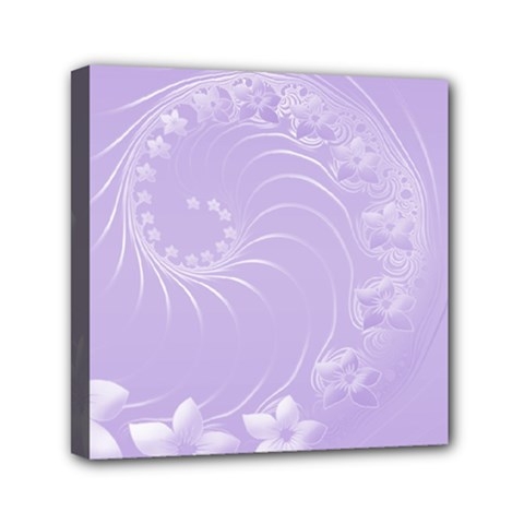 Light Violet Abstract Flowers Mini Canvas 6  x 6  (Framed)