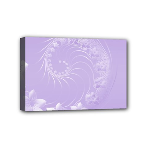 Light Violet Abstract Flowers Mini Canvas 6  x 4  (Framed)