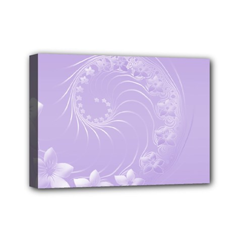 Light Violet Abstract Flowers Mini Canvas 7  X 5  (framed)