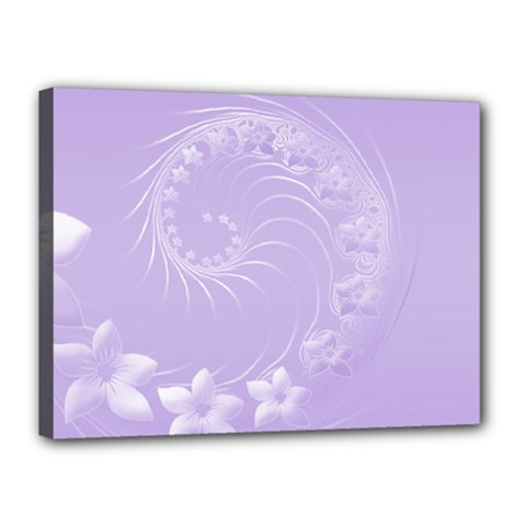 Light Violet Abstract Flowers Canvas 16  x 12  (Framed)