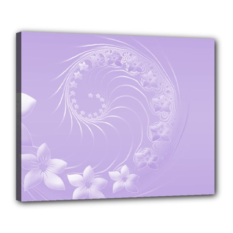 Light Violet Abstract Flowers Canvas 20  x 16  (Framed)